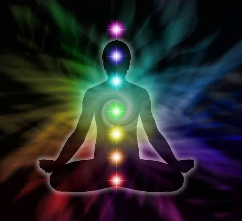 Silhueta de uma pessoa meditando em posição de lotus com a representação dos seus 7 chakras