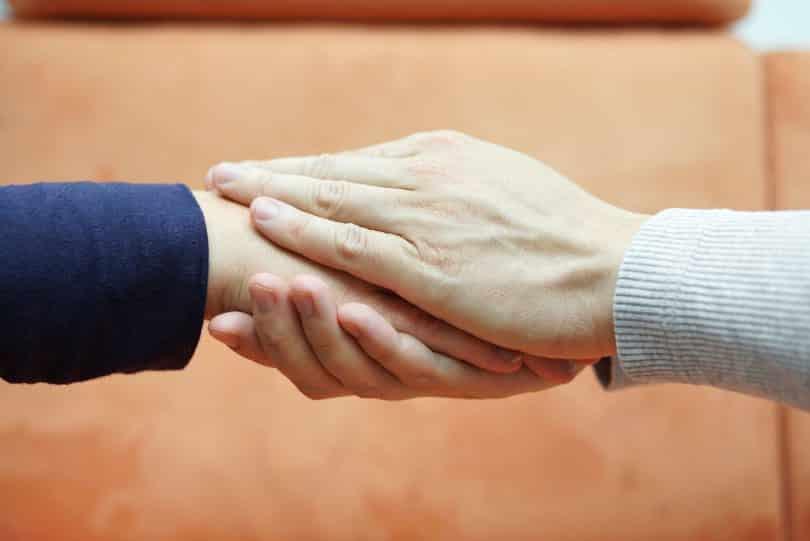 Mãos unidas em sinal de apoio.