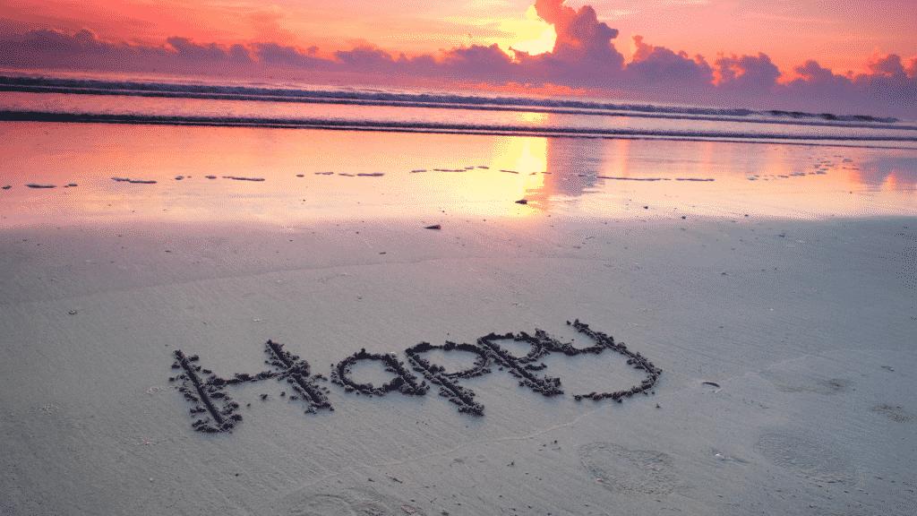 """Imagem da palavra """"Happy"""" (que significa """"feliz"""" em inglês) escrita na areia da praia"""