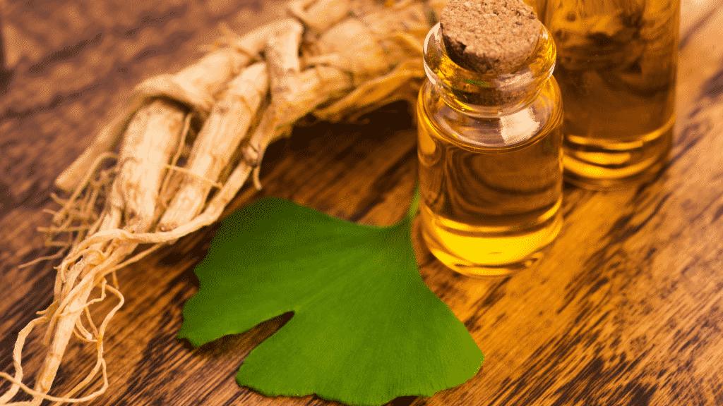 Imagem da erva Ginkgo Biloba, óleo e raiz