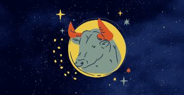 Céu estrelado com o símbolo do signo de Touro