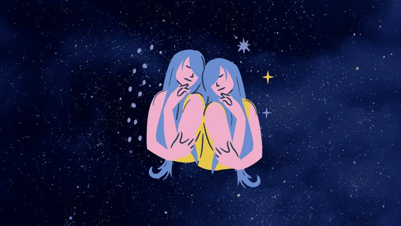 Céu estrelado com o símbolo do signo de Gêmeos
