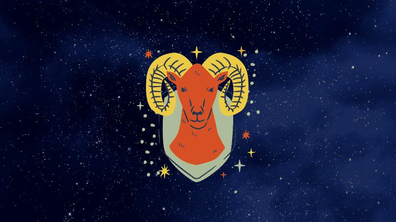 Céu estrelado com símbolo do signo de áries