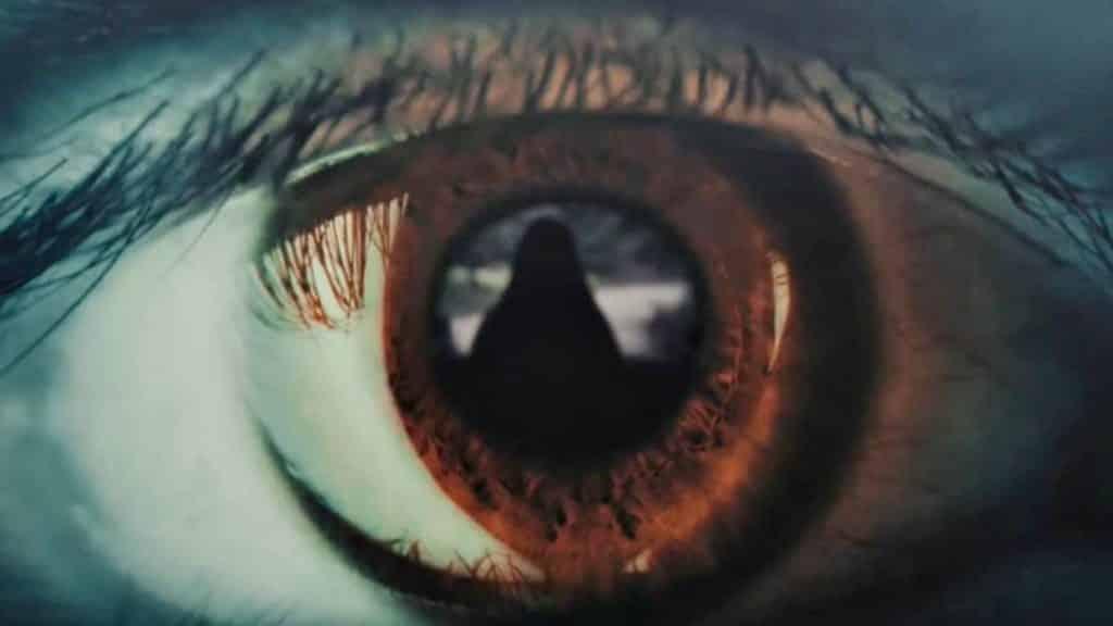 Olho castanho visualizando uma pessoa
