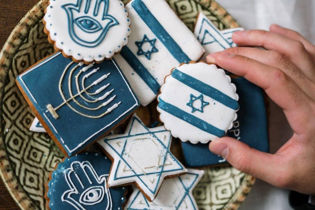 Biscoitos com símbolos israelistas.