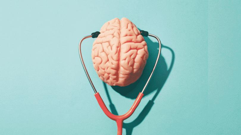 Imagem ilustrativa de cérebro com estetoscópio