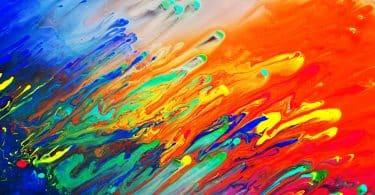 Obra abstrata, cenário de cores se misturando.