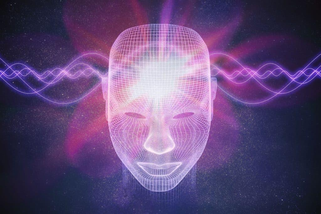 Projeto em 3D de cabeça humana com ondas magnéticas.