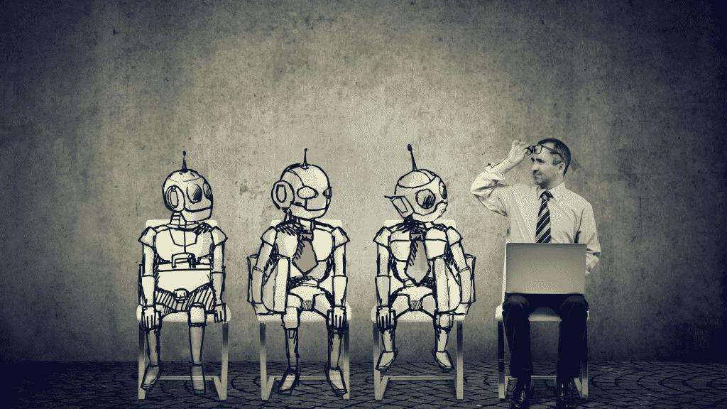 Imagem ilustrativa de um humano olhando para robôs