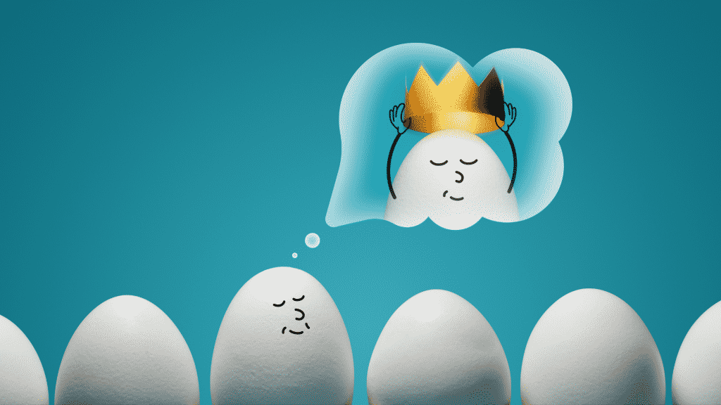 Ilustração de um ovo imaginando ser um rei