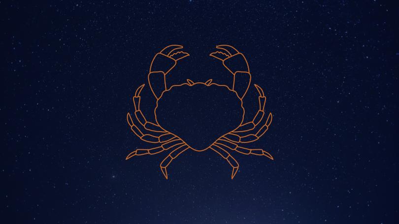 Céu estrelado com signo de Câncer