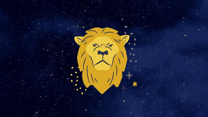 Céu estrelado com símbolo do signo de leão