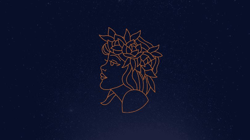 Céu estrelado com signo de virgem