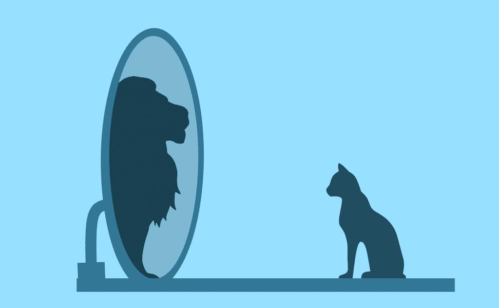 Ilustração de gato olhando-se no espelho e vendo leão.