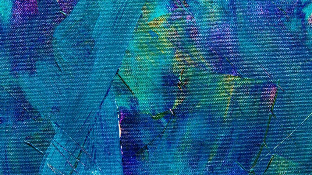 Tela com tons de azul e verde.