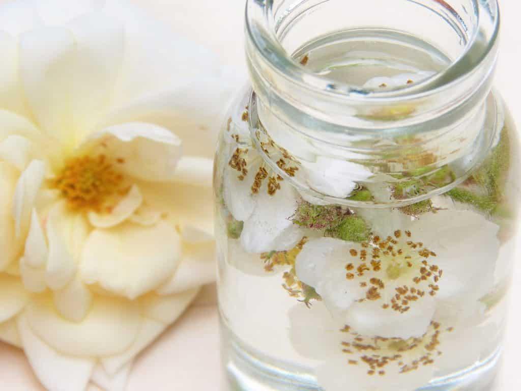 Imagem de um frasco de vidro e dentro dele óleo de rosa-mosqueta. No frasco também tem algumas rosas-brancas. Ao lado do frasco que está disposto sobre uma mesa, um botão aberto de uma rosa na cor amarelo-claro.