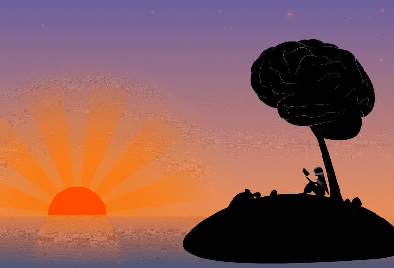 Ilustração de uma moça em uma ilha vendo o pôr do sol enquanto está sob uma árvore em que no seu topo há a representação de um cérebro
