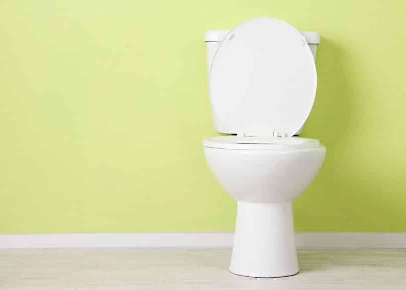 Vaso sanitário branco. Atrás há uma parede verde-claro.