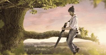 Homem sentado em um galho de árvore, cortando o próprio galho com uma serra