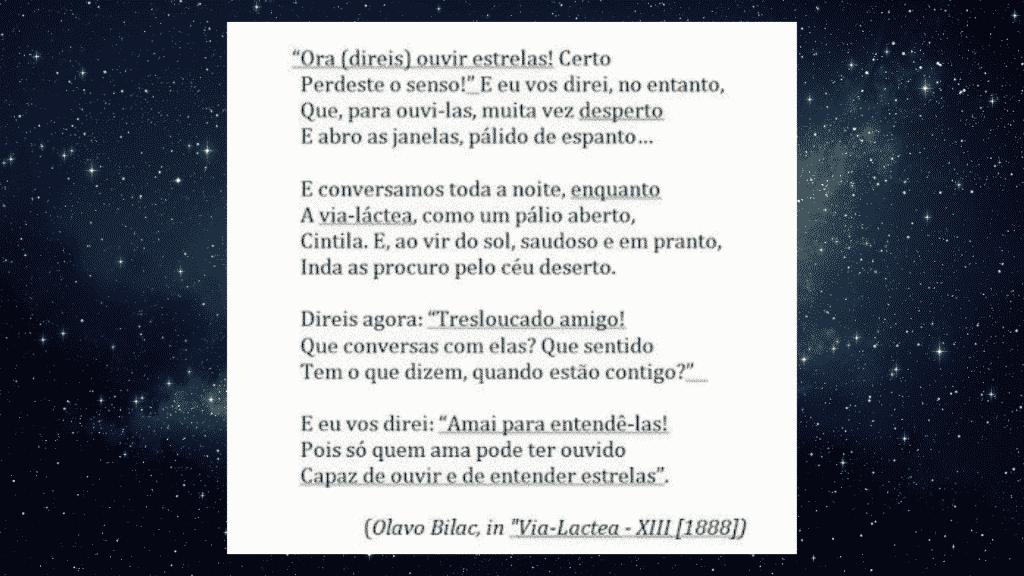 """Citação do poema """"Via Lactea"""" de Olavo Bilac em cima de um céu estrelado"""