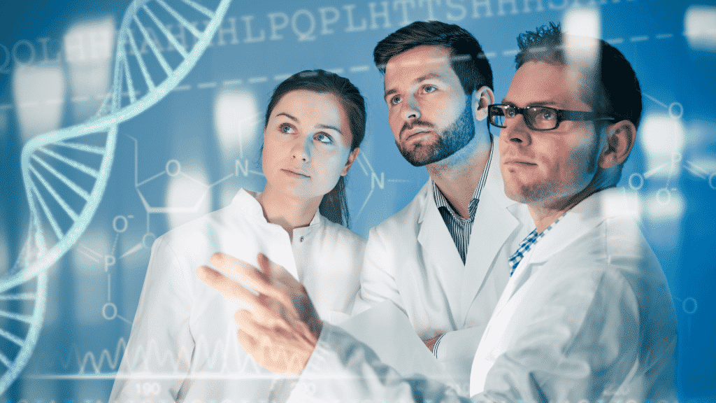 Médicos trabalhando genética em um laboratório