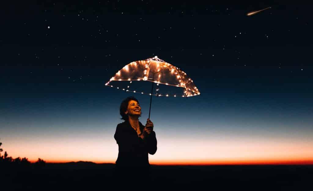 Mulher segura um guarda-chuva decorado por luzes. Ela sorri e está em um ambiente externo noturno.