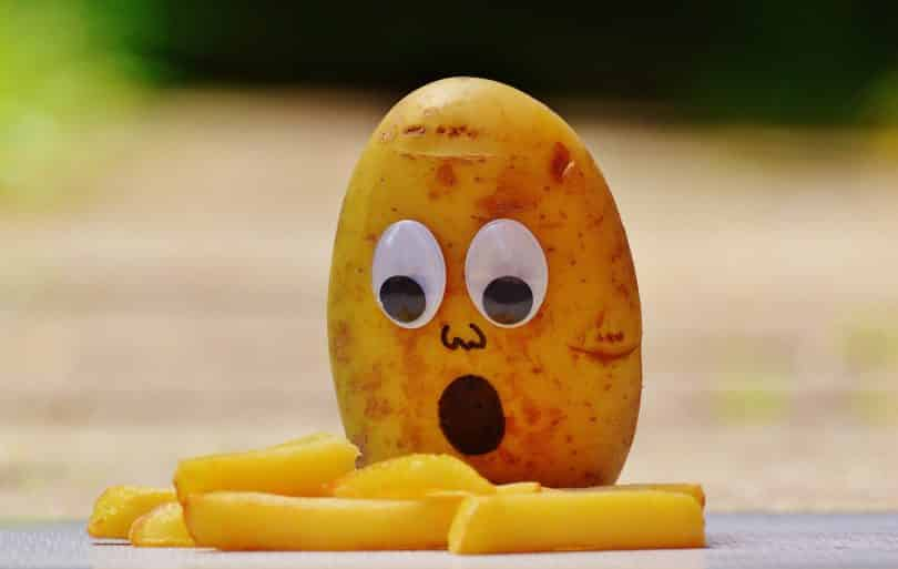 Uma batata com olhos de plático assustada ao olha sua versão frita