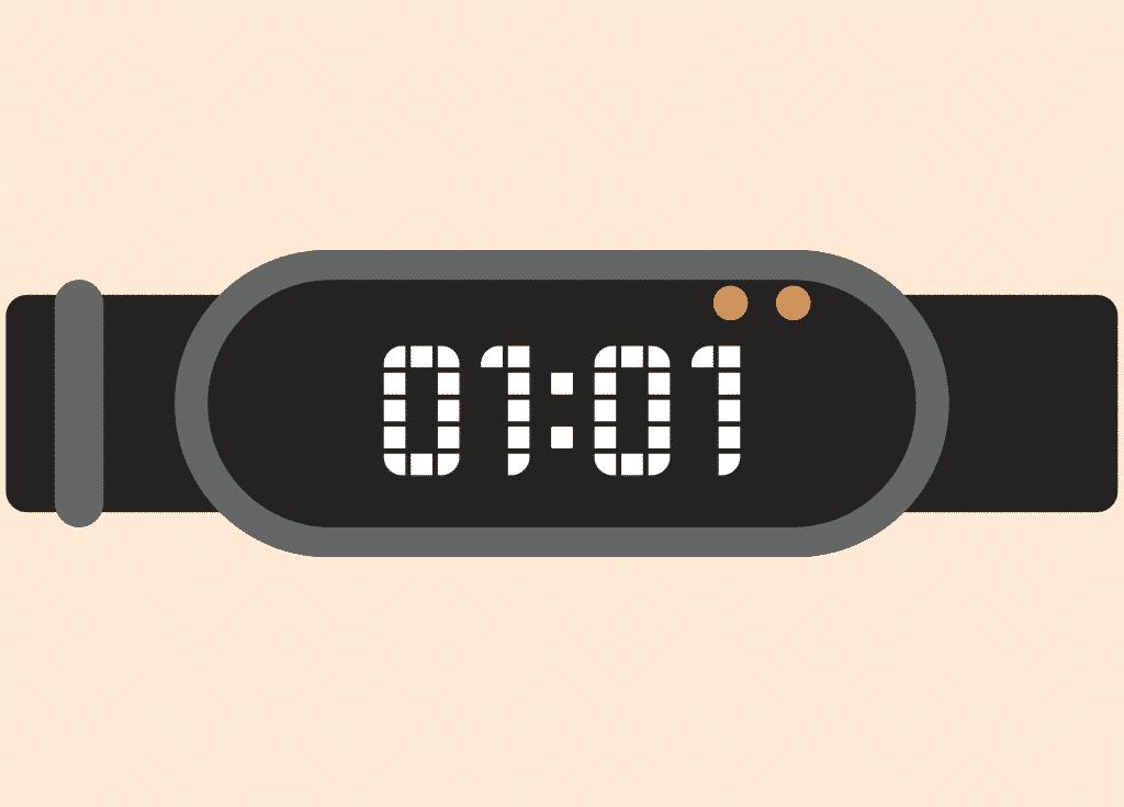 Ilustração de relógio com o número 01:01.