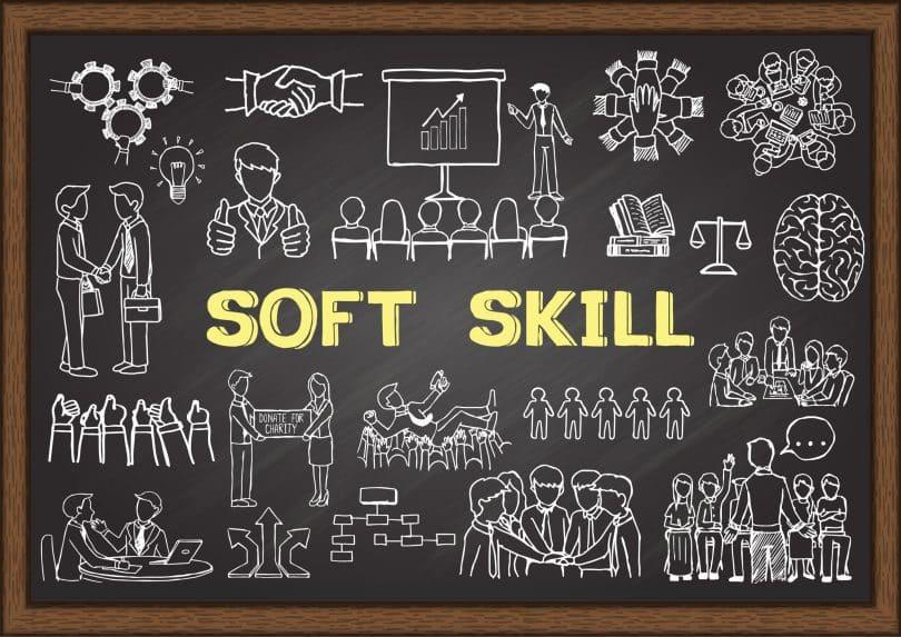Mão ilustrações desenhadas sobre Soft Skill no quadro-negro. Ilustração vetorial
