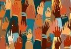 Ilustração das mãos de um povo com uma cor de pele diferente. Igualdade racial, feminismo, arte da tolerância em estilo minimalista.