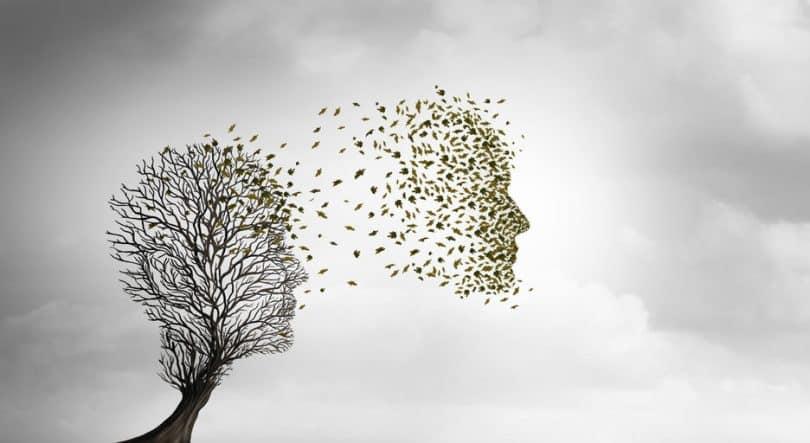 Rosto humano formado por folhas saindo de uma árvore, dando referência à vida após a morte