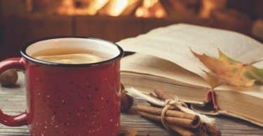 Caneca com chá e livro ao lado.