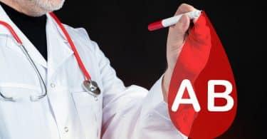 Desenho de uma gota de sangue com AB escrito.