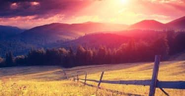 Campo vasto iluminado com a luz do Sol.