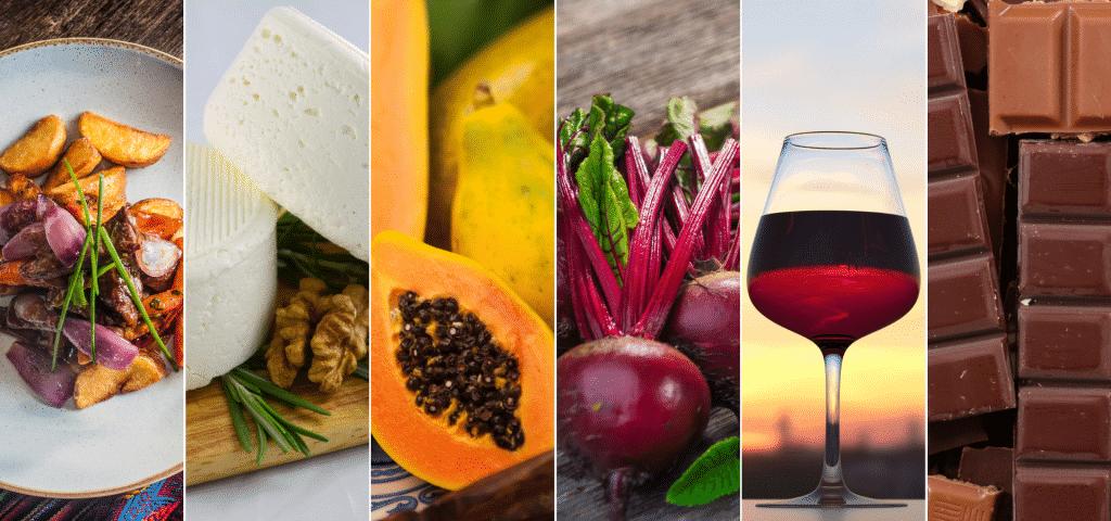 Imagens com vários alimentos permitidos para pessoas com tipo sanguíneo ab.