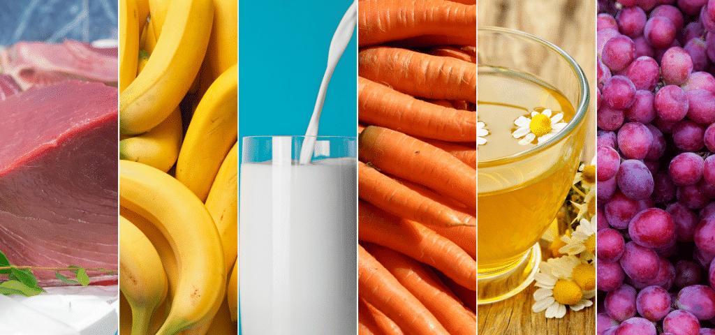 Imagens com vários alimentos permitidos para pessoas do tipo sanguineo B.