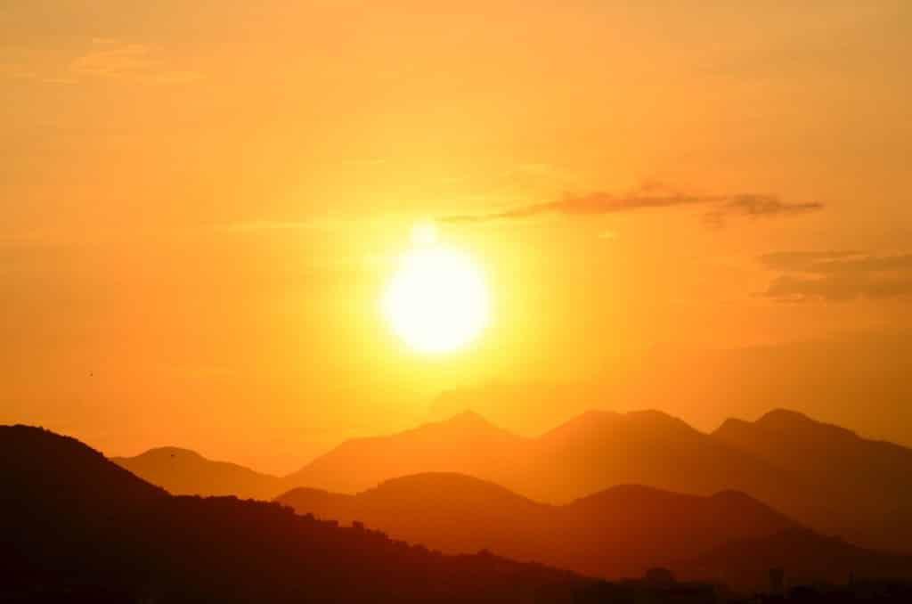Pôr do sol no Rio de Janeiro.