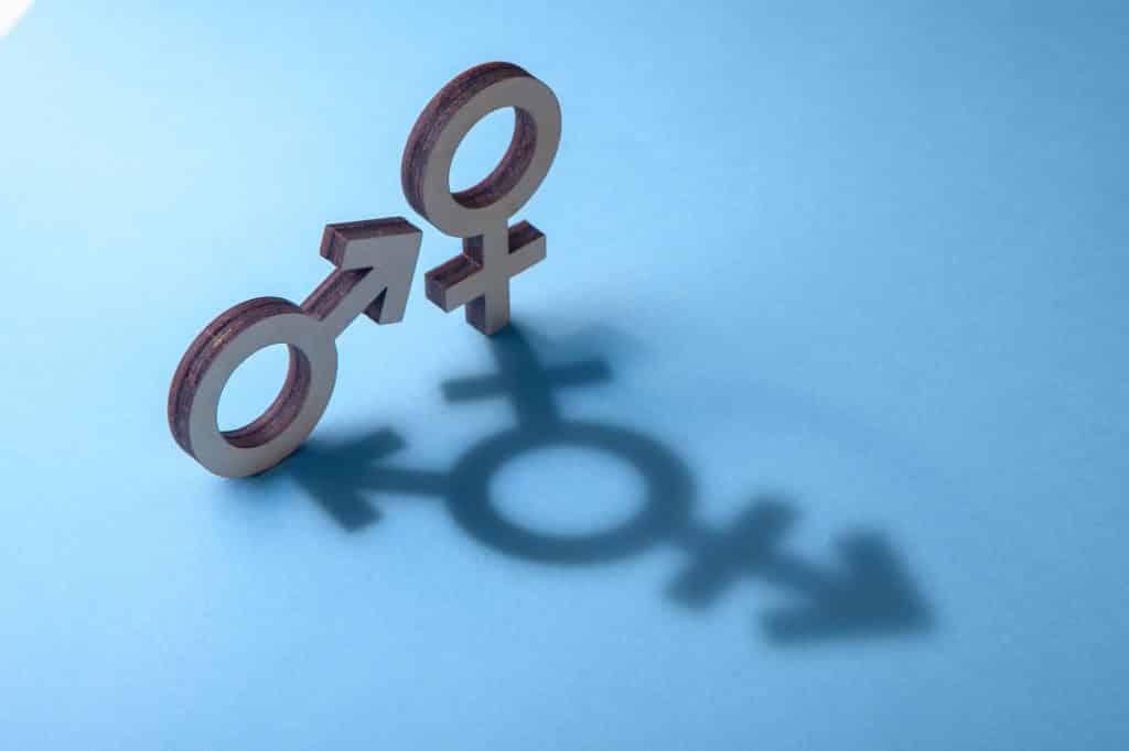 Símbolos de homem e mulher projetam sombras na forma de transgênero em fundo azul