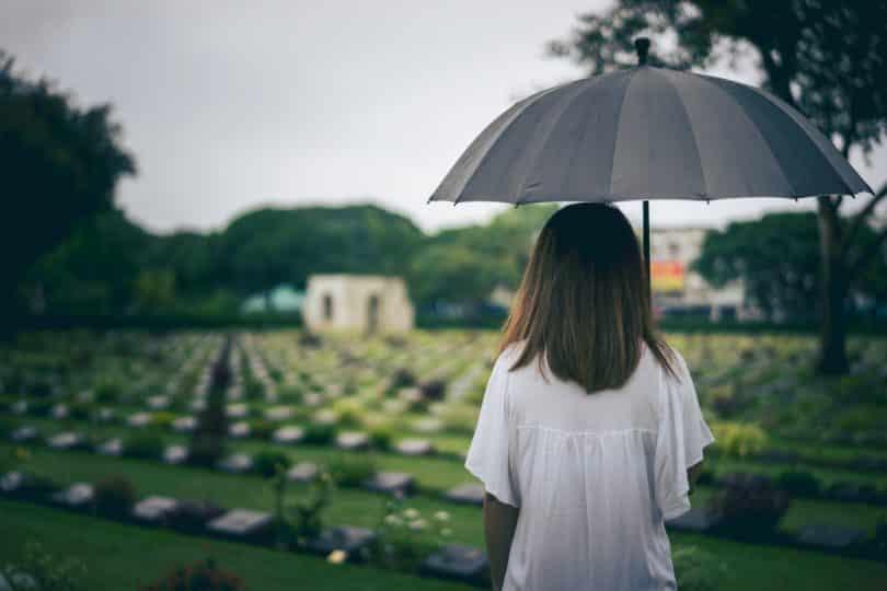 Mulher de costas em um cemitério segurando um guarda-chuva preto.