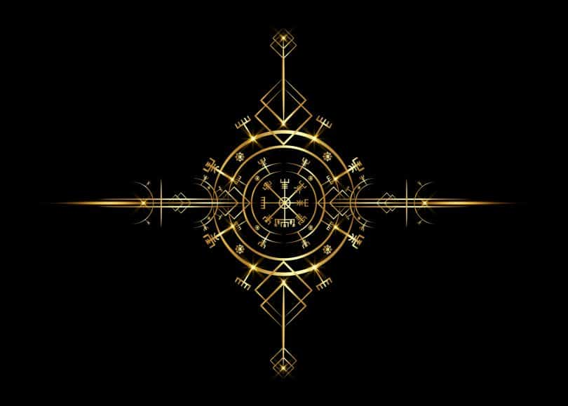 Bússola mágica de navegação Vegvisir antiga.