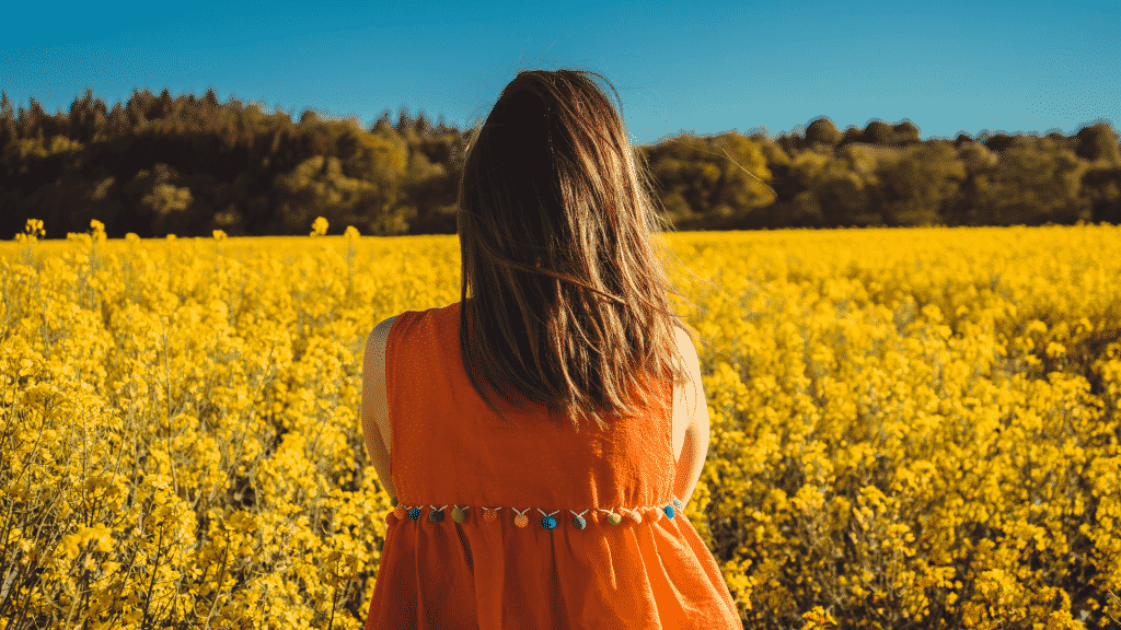 Mulher de costa para a foto, observando um campo florido