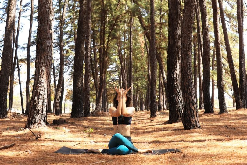 Mulher fazendo Yoga em uma floresta.