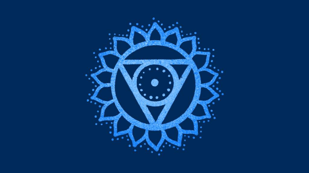 Símbolo do chakra laríngeo com um fundo azul.