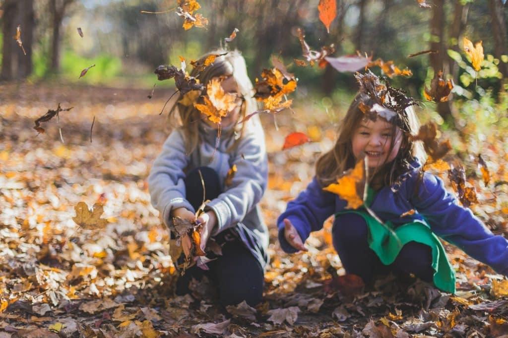 Crianças brincando com folhas caídas no chão.