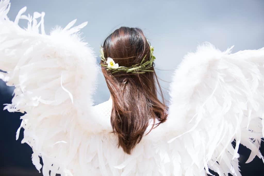 Vista de costas, uma mulher com asas de anjo e cabelos castanhos com um adorno em planta.