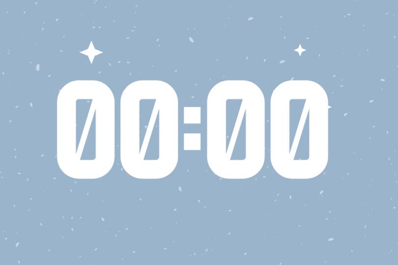 Número 00:00 escrito em um fundo azul.