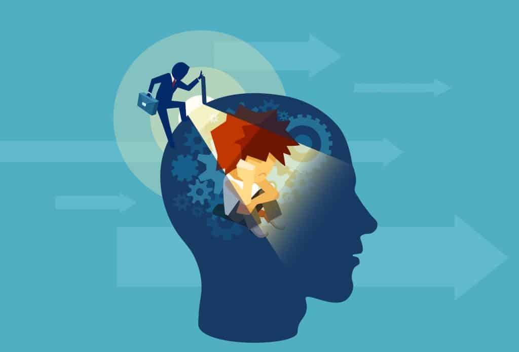 Vetor de um homem de negócios adulto abrindo uma cabeça humana com uma mente subconsciente