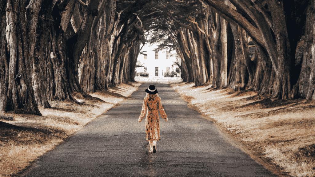 mulher caminhando por estrada dentro do bosque