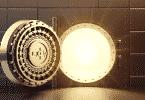 Parte interior de um cofre brilhando