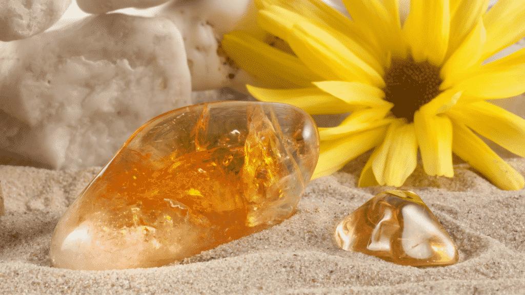 Imagem de dois citrinos em cima de areia. Ao fundo, uma flor amarela